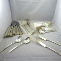 Vintage Late 1930s Wm Rogers Mfg Co Court Silverplated Flatware Craft Lot 52 Pcs