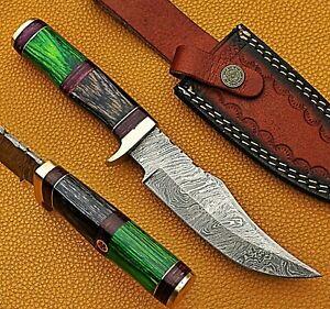 "10"" Custom Handmade Damascus Steel Hunting Knife Wood Handle W/ Leather Sheath"