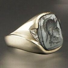 Heavy Deco Solid Gold Carved Hematite Roman Warrior Intaglio Wax Seal Ring
