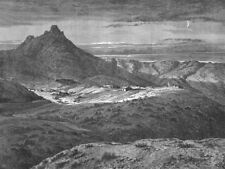 ARIZONA. Ft Bowie. Apache attack 1880 old antique vintage print picture