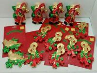 Lot of 16 Vintage Style 50s Style Plastic Xmas Ornaments - Santa, Candles, Birds