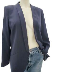 H&M Ladies Tuxedo Blazer Jacket Dark Blue Size 14 Pockets