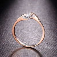 Rose Gold Plated TWIN CUBIC ZIRCONIA RING Thumb/ Wrap Ring ADJUSTABLE Crystal