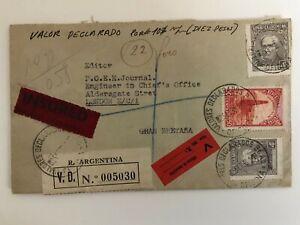 Argentina - Registered Letter to London, England 1938