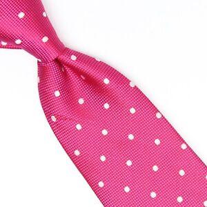 Charles Tyrwhitt Mens Silk Necktie Hot Pink White Polka Dot Weave Woven Tie