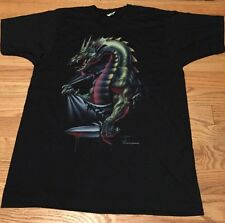 Vintage 80s DRAGON JRS ENTERPRISES Screenstar 50/50% Black Thin T Shirt. Size M