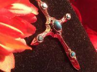 Vintage signed ART Faux Turquoise Cabochon silver Cross Pendant W/ Chain