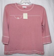 Sz Small Large CJ BANKS Simple Pullover Sweater Lightweight Open Knit Top Pink