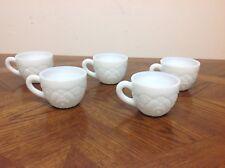 5 Vintage White Milk Glass 6 oz Tea Cups