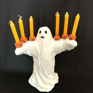Vintage Celebrations By Silvestri Ghost Candle Holder 6 Orange Candles 1980