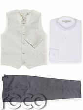 Baby Boys Waistcoat Suit, Page Boy Suits, Grey Trousers, Swirl Pattern