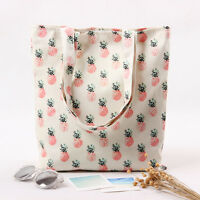 Handmade Cotton Canvas Eco Reusable Shopping Shoulder Bag Tote Pineapple L224 B#