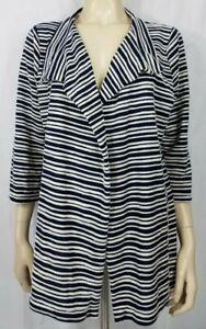 NWT Peck & Peck blue white striped open front cotton blend cardigan ladies 1X