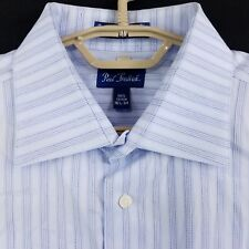 Paul Fredrick French Cuff Blue Striped Spread Collar Dress Shirt Mens 16 1/2 34
