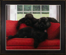 Barrie Barnett (American) Original Hand Painted Dogs in Pastel Painting Poodles