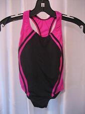 Speedo Girl's Hot Pink & Black Solid One Piece Swimsuit/Bathing Suit Sz 8 NWWT