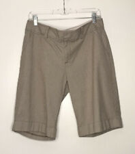 Banana Republic Tan White Striped Bermuda Shorts Martin Fit Roll Up Size 12