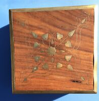 Hand Carved Floral Brass Inlay Solid Wooden Jewelry Trinket Box