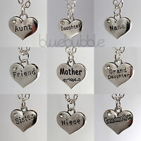 FUNKY VINTAGE STYLE SILVER WORD HEART NECKLACE CUTE LOVE CHARM PENDANT MUM GIFT