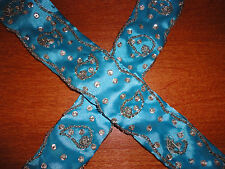 NWOT Womens Cloth Blue Beaded Sequin Belt OS Small S Medium M Large L XL