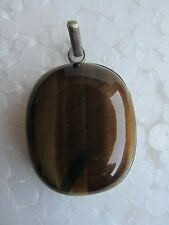 RARE TIGER EYE GEMSTONE SOLID SILVER JEWELRY NECKLACE PENDANT VINTAGE OLD INDIA