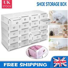 10/20/40x Plastic Shoe Boxes Drawer Stackable Storage Cabinet Nonslip Organiser