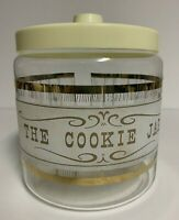 Vtg Pyrex Glass The Cookie Jar w/ Gold Trim Woodgrain Barrel Kitchen Canister