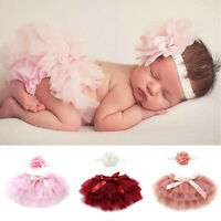 Newborn Infant Kids Baby Girl Bowknot Tulle Tutu Skirts+Headband Outfits Clothes