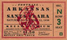 1938 Arkansas Razorbacks vs Santa Clara Broncos Football Ticket Kezar Stadium