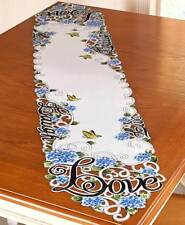 Live Laugh Love Embroidered Table Runner Scalloped Butterfly Floral Cutout Linen
