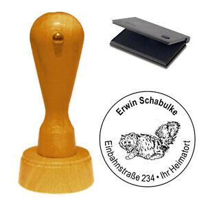 Stempel Adressenstempel mit Stempelkissen - Perser Katze - Holzstempel Ø 40mm ❤️