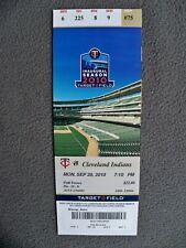 MINNESOTA TWINS 2010 Target Field Inaugural Ticket Stub 9-20 Cleveland Indians