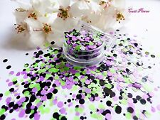 NAIL Art grosso * JOKER * Viola Punti Verdi Cerchio Forma Glitter Mix POT Spangle