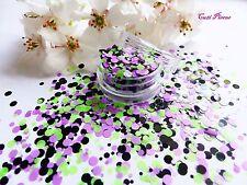 Nail Art Chunky *JoKer* Purple Green Dots Circle Shape Glitter Spangle Mix Pot