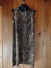 New Ralph Lauren Dress Size XS Turtleneck Sleeveless Leopard Front Panel $198