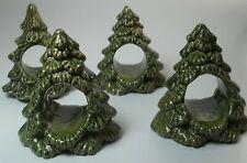 Vintage Holiday Christmas Tree Ceramic Napkin Holders Rings Set of 4