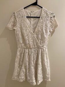 White Lace Floral Playsuit Size 8