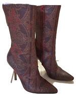 ROBERTO CAVALLI Womens burgundy Mid-Calf Boots Size 7 US, 37.5 EU