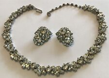 VINTAGE CROWN TRIFARI SIGNED CLEAR RHINESTONE NECKLACE AND EARRINGS W3
