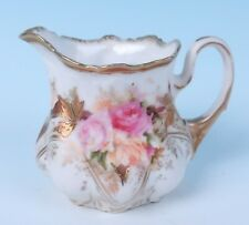 RS Prussia Small Fancy Creamer Jug w/ Roses Luster & Gold R.S. Porcelain Milk