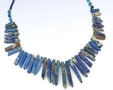 "PANACEA Blue Dyed Jasper Stone Stick & Bead Necklace 28"" Long"