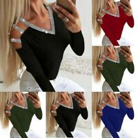 Long T-Shirt Loose Sequin Womens Blouse Out Tee Casual Sleeve Ladies Hollow Tops
