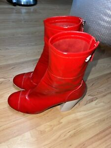 red patent leather Chanel booties