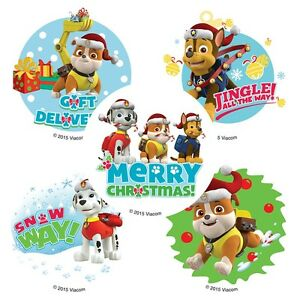 """25 Paw Patrol Christmas / Holiday Stickers, 2.5"""" x 2.5"""" each, Party Favors"""