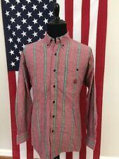 vtg 80s IZOD Striped Pastel Shirt men's LARGE red color block skater socal 16059