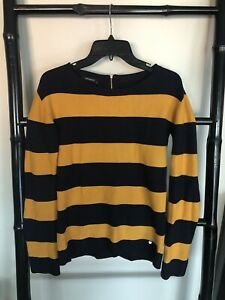 PROMOD Size XS Navy & Yellow Stripe Top Knit Look