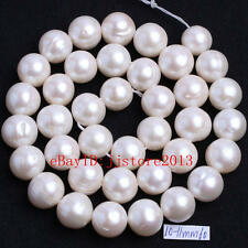 """10-11mm Natural White Freshwater Pearl Nearly Round DIY Gems Beads Strand 15"""""""