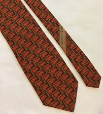 VALENTINO Cravatte Orange Brown Abstract Print 100% Silk Neck Tie Made In Italy