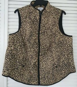 """WOMEN'S """"CROFT & BARROW"""" BEIGE PRINT WOVEN QUILTED VEST, SIZE 2X, NEW WITH TAGS"""