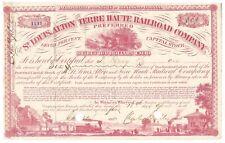 St. Louis, Alton and Terre Haute Railroad Co. Stock Certificate Document 1865